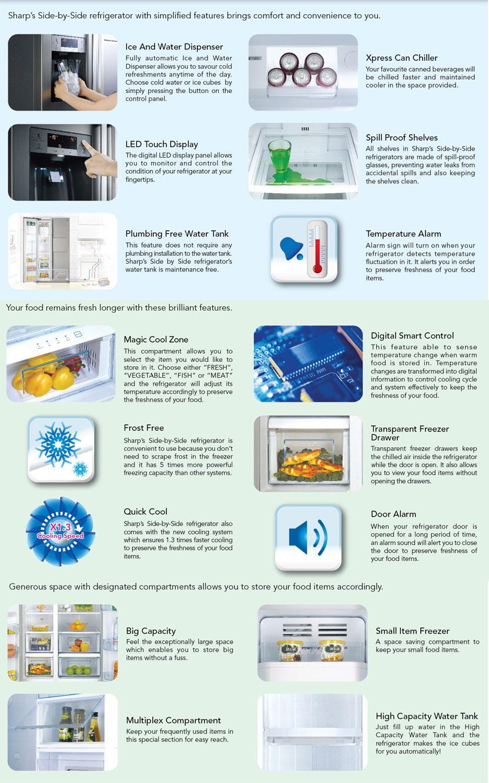 Sharp 2-Door Refrigerator SJ-X66ST-SL