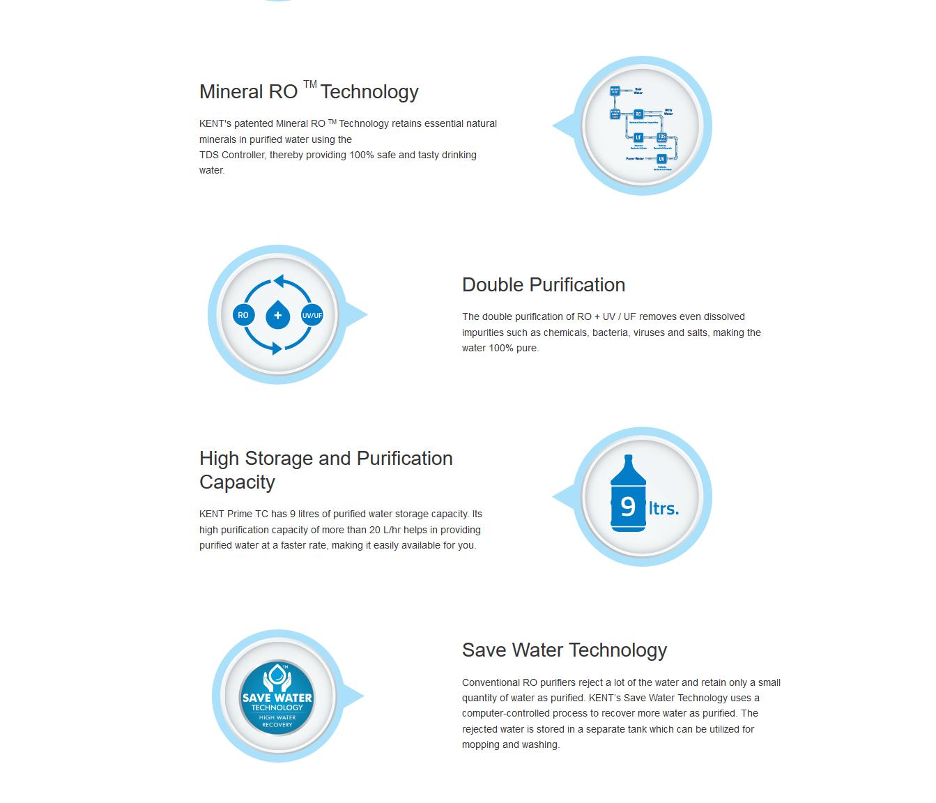 KENT Prime TC Water Purifier - KENT RO System